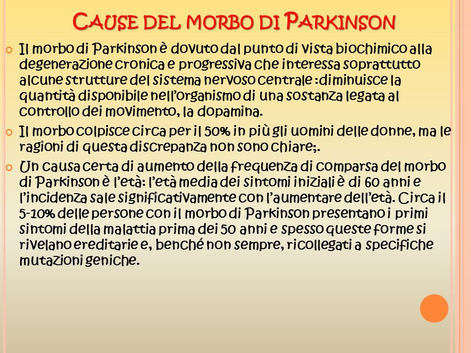 Cause del morbo di Parkinson