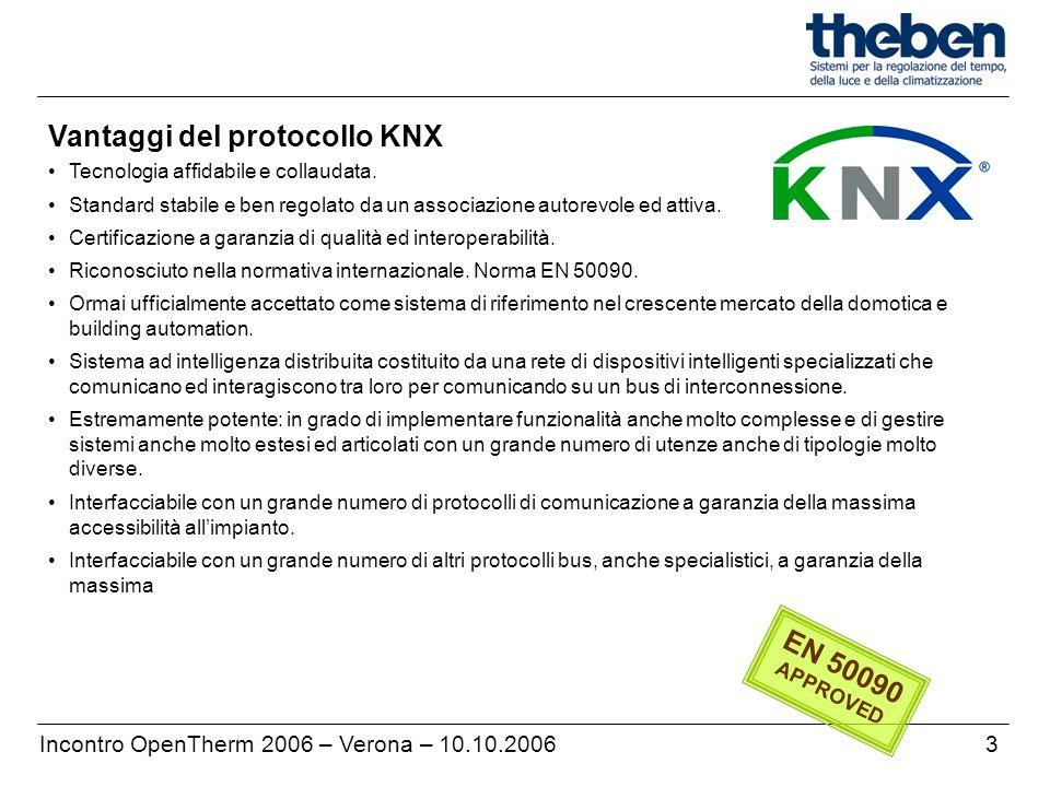 Vantaggi del protocollo KNX