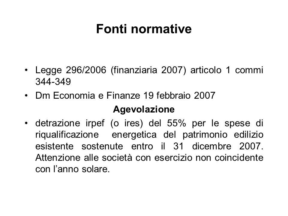 Fonti normative Legge 296/2006 (finanziaria 2007) articolo 1 commi 344-349. Dm Economia e Finanze 19 febbraio 2007.