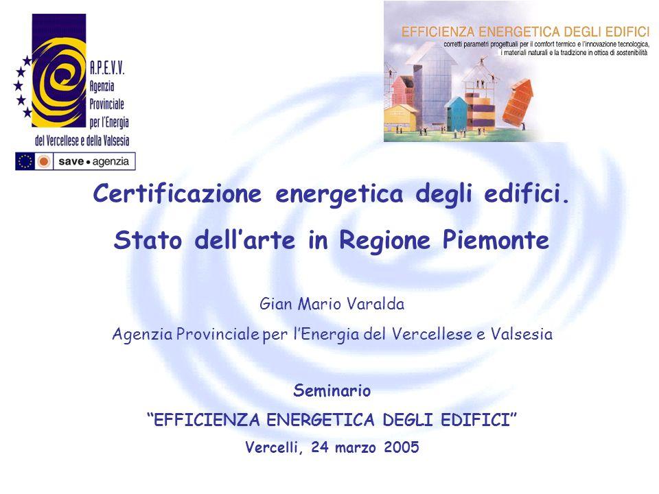 Certificazione energetica degli edifici.