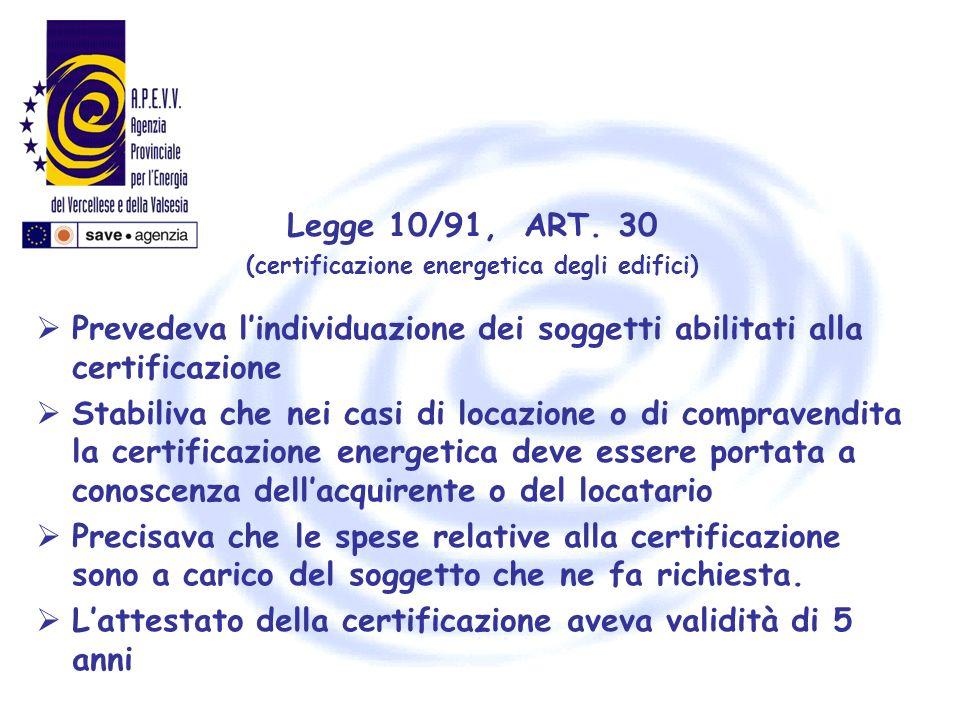 (certificazione energetica degli edifici)