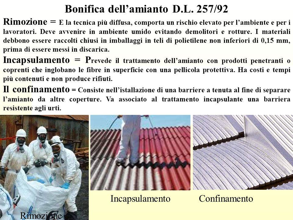 Bonifica dell'amianto D.L. 257/92