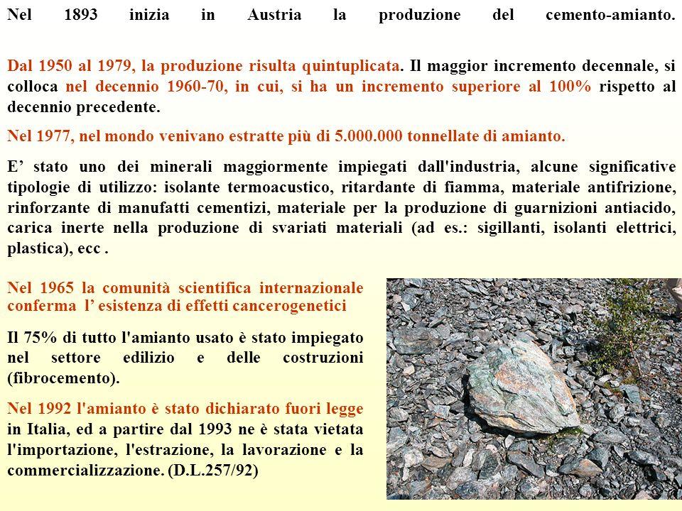 Nel 1893 inizia in Austria la produzione del cemento-amianto.