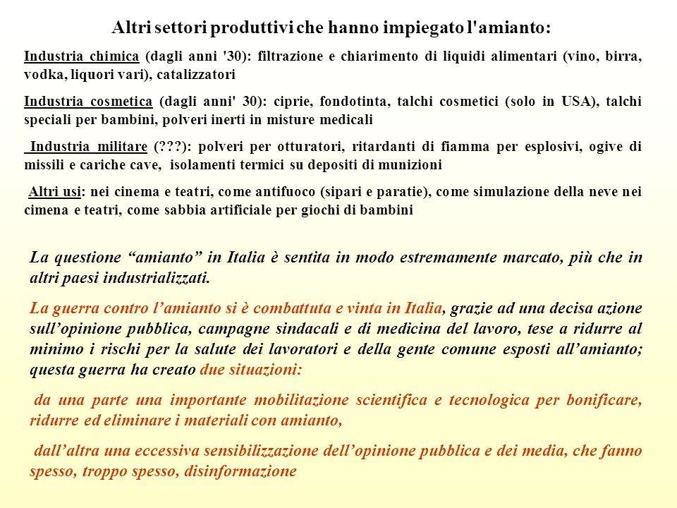 Altri settori produttivi che hanno impiegato l amianto: