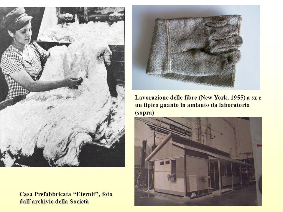 Lavorazione delle fibre (New York, 1955) a sx e un tipico guanto in amianto da laboratorio (sopra)