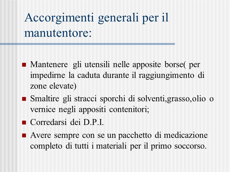 Accorgimenti generali per il manutentore: