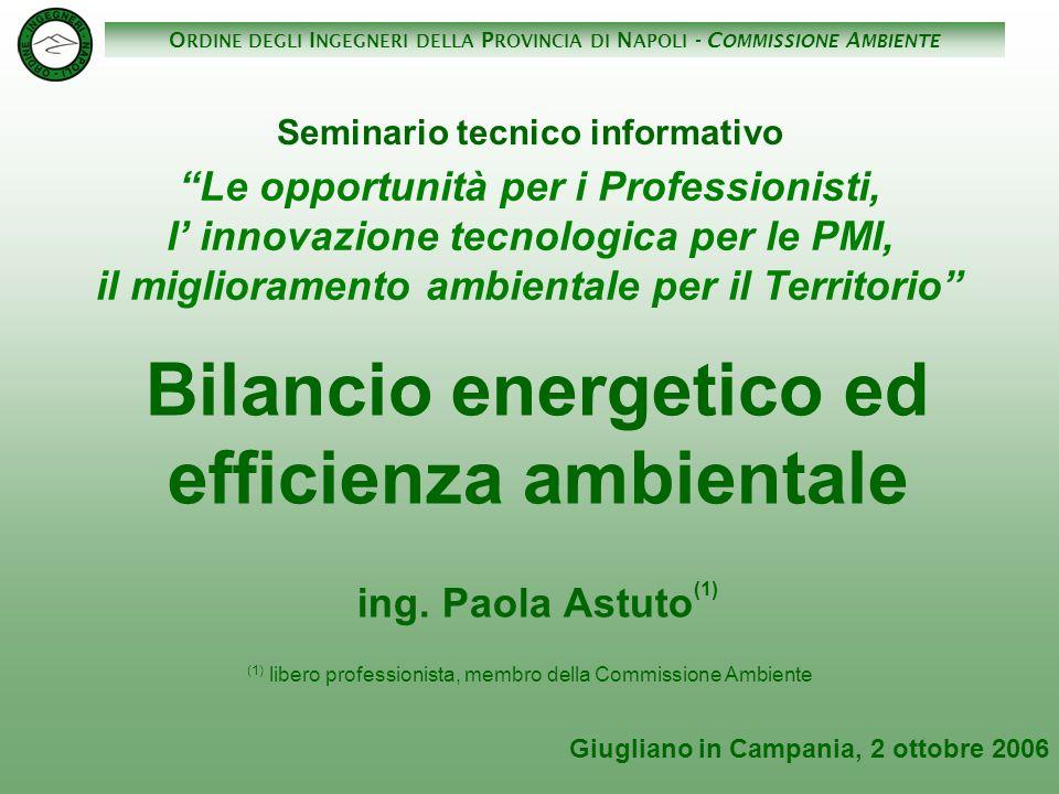Bilancio energetico ed efficienza ambientale ing. Paola Astuto(1)