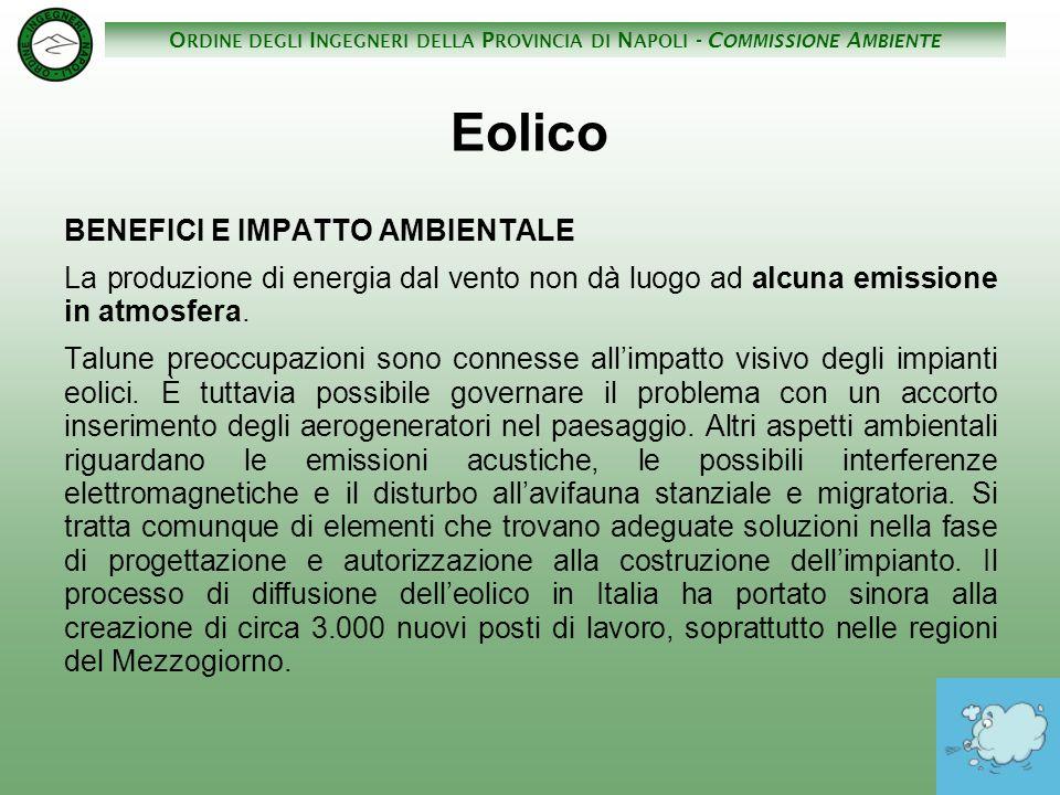 Eolico BENEFICI E IMPATTO AMBIENTALE