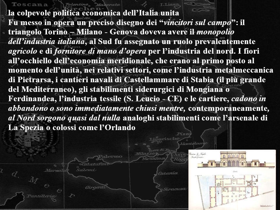 la colpevole politica economica dell'Italia unita