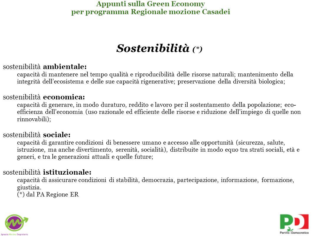 Sostenibilità (*) Appunti sulla Green Economy
