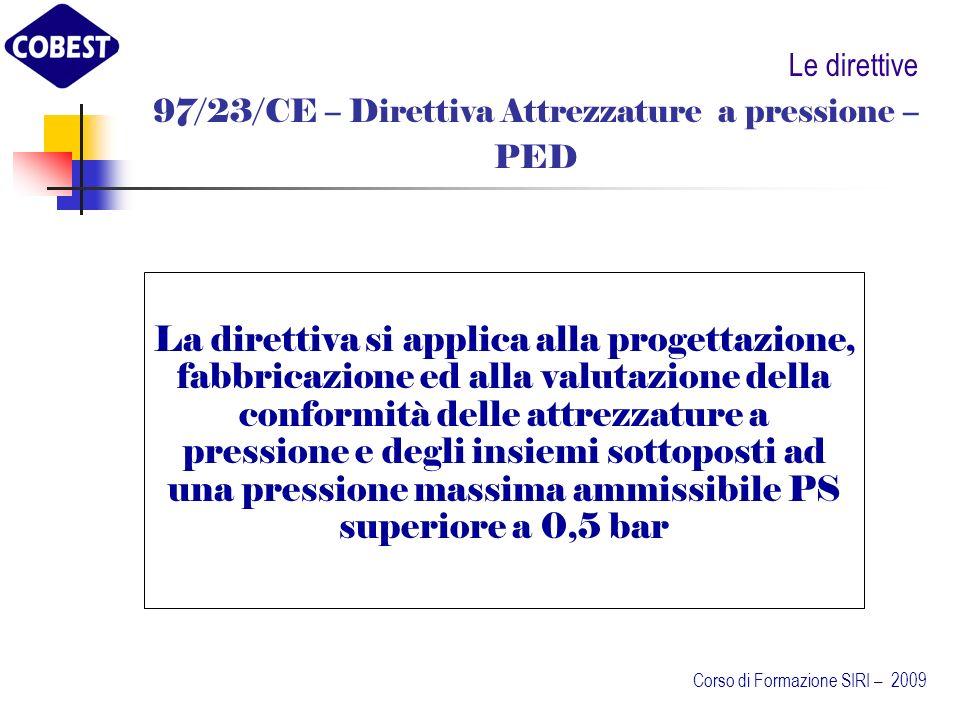 97/23/CE – Direttiva Attrezzature a pressione –