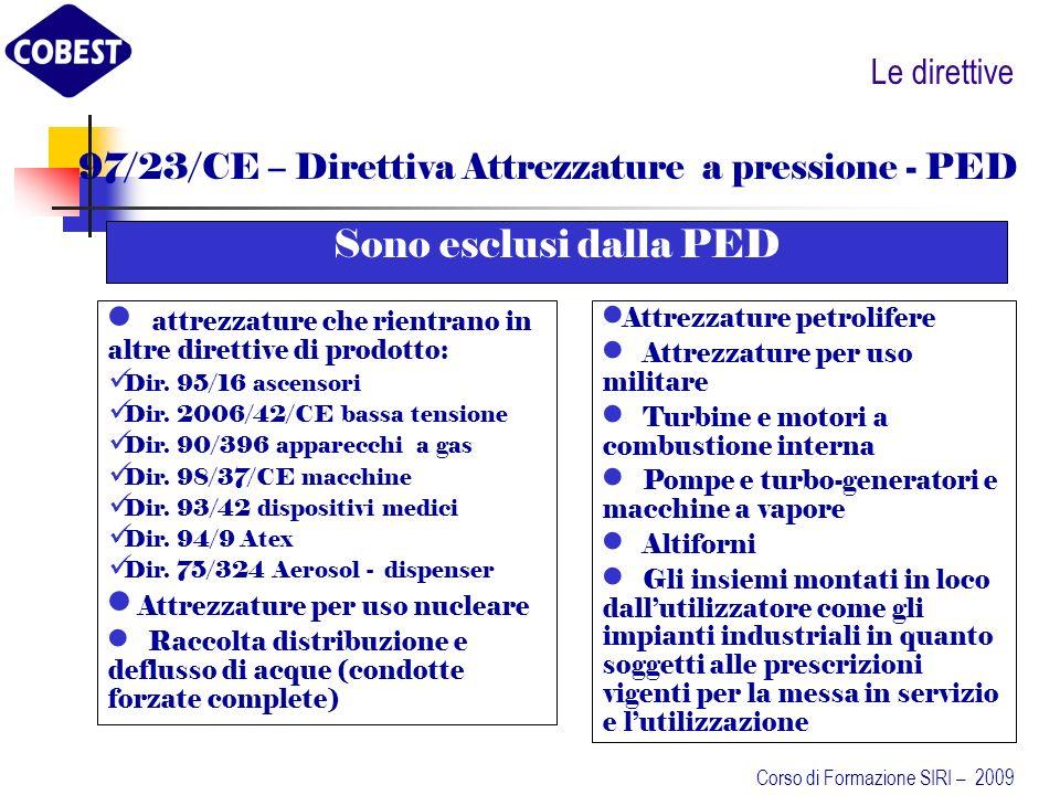 97/23/CE – Direttiva Attrezzature a pressione - PED