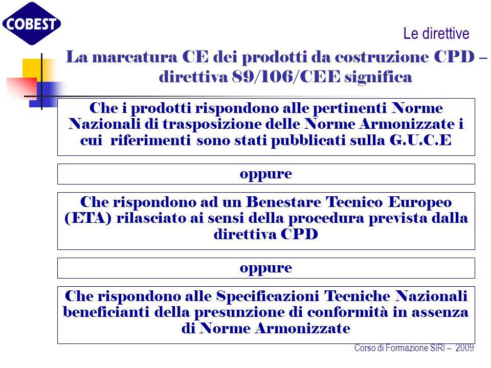 Le direttive La marcatura CE dei prodotti da costruzione CPD – direttiva 89/106/CEE significa.