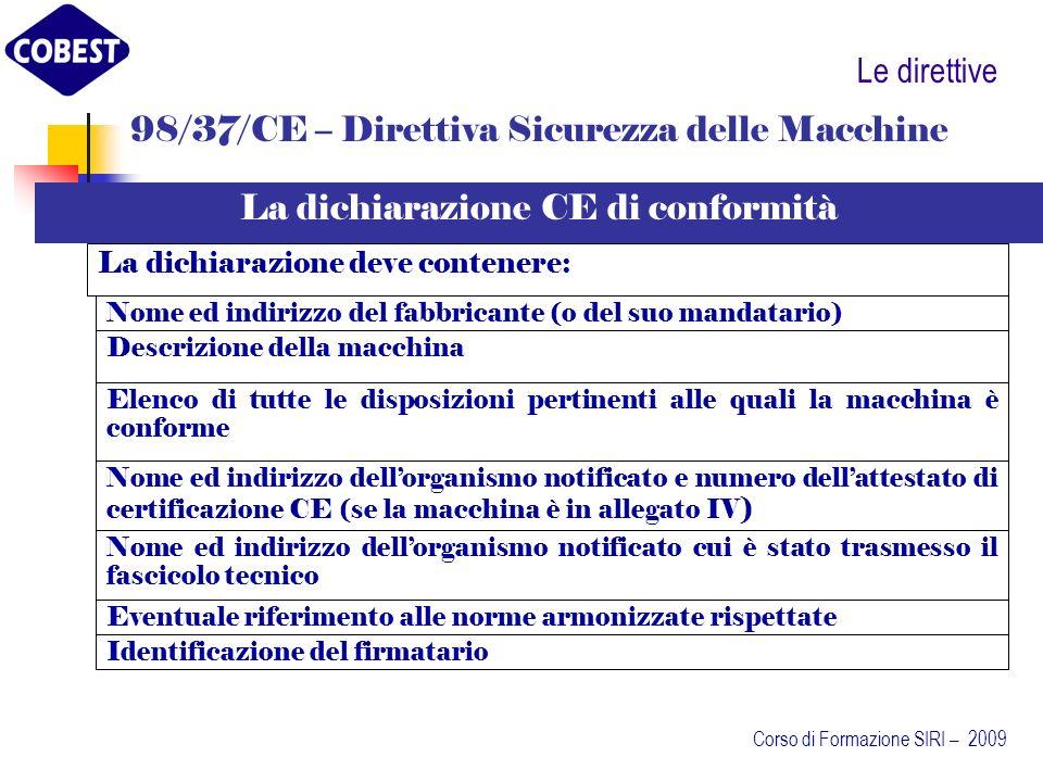 98/37/CE – Direttiva Sicurezza delle Macchine