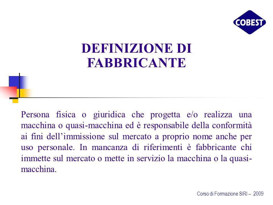 DEFINIZIONE DI FABBRICANTE