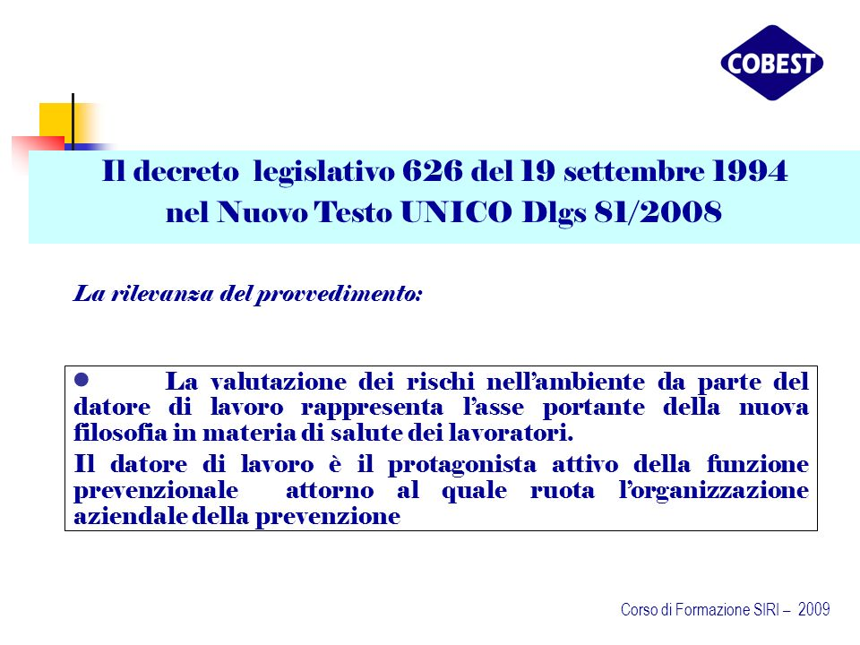 Il decreto legislativo 626 del 19 settembre 1994