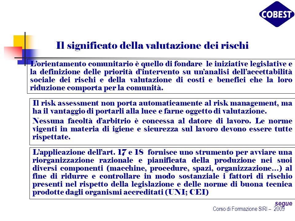 Il significato della valutazione dei rischi