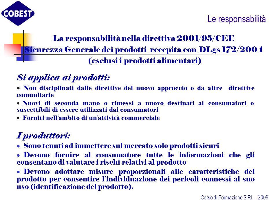 Le responsabilità Si applica ai prodotti: I produttori: