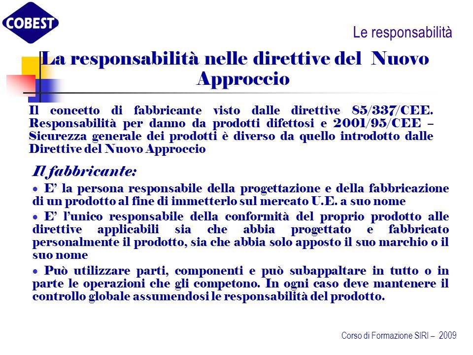 La responsabilità nelle direttive del Nuovo Approccio