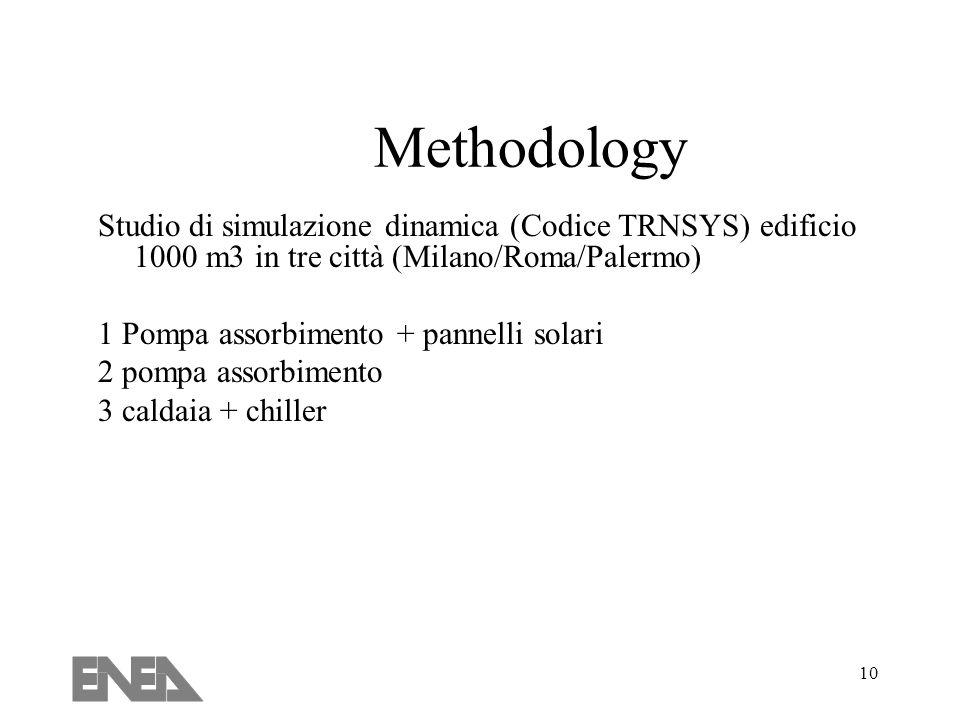 Methodology Studio di simulazione dinamica (Codice TRNSYS) edificio 1000 m3 in tre città (Milano/Roma/Palermo)