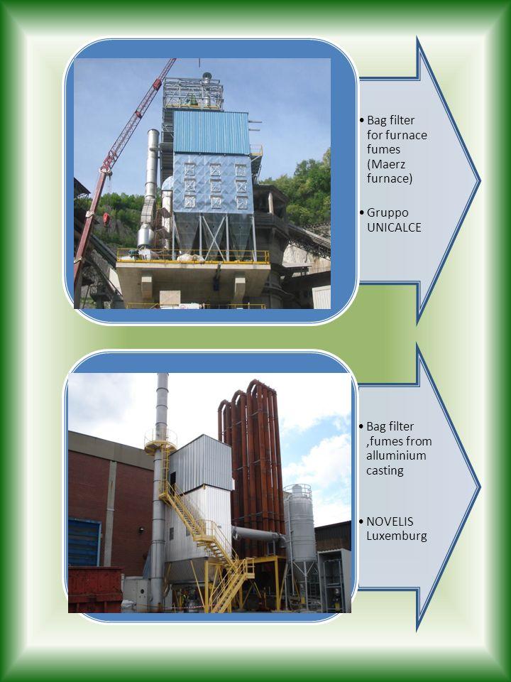 Bag filter for furnace fumes (Maerz furnace)