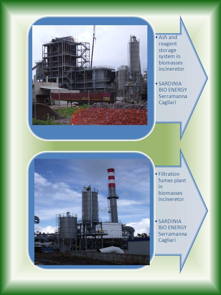 Ash and reagent storage system in biomasses incineretor