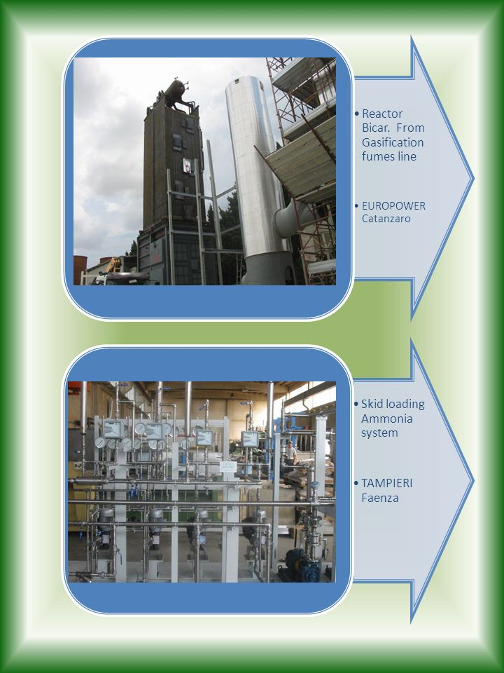 Reactor Bicar. From Gasification fumes line
