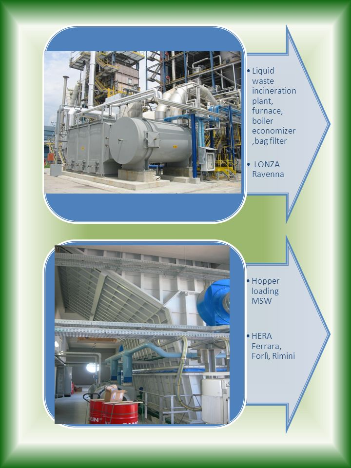 Liquid waste incineration plant, furnace, boiler economizer ,bag filter