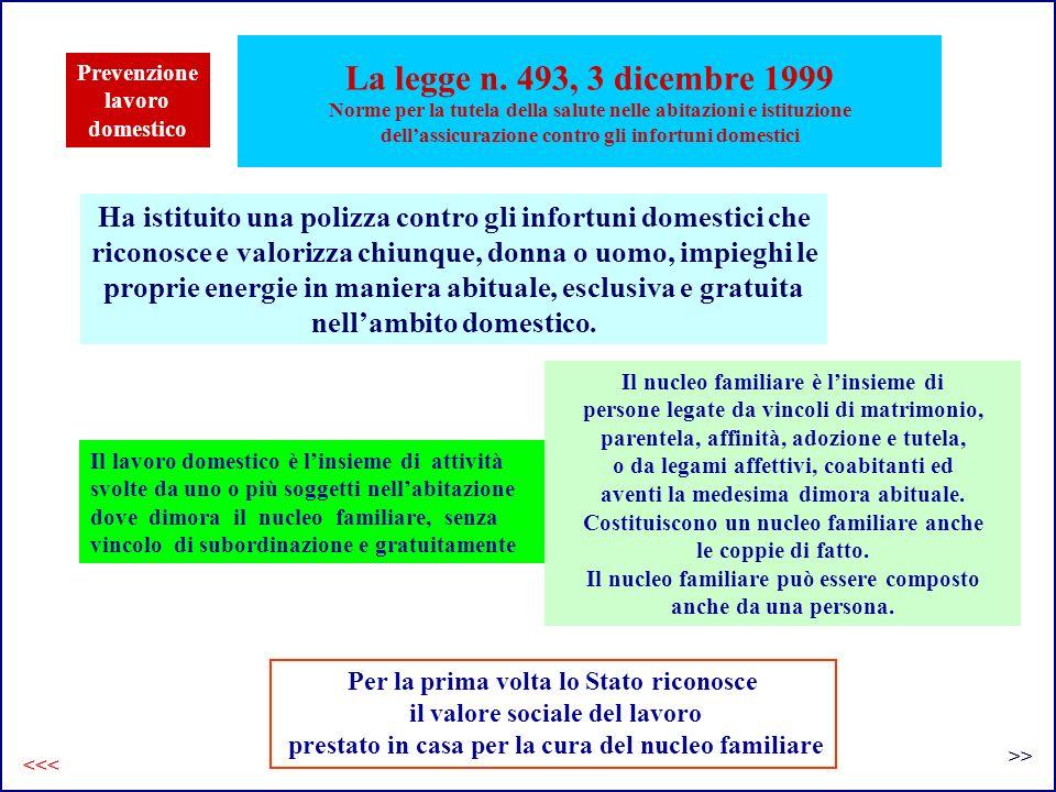 La legge n. 493, 3 dicembre 1999 Norme per la tutela della salute nelle abitazioni e istituzione dell'assicurazione contro gli infortuni domestici