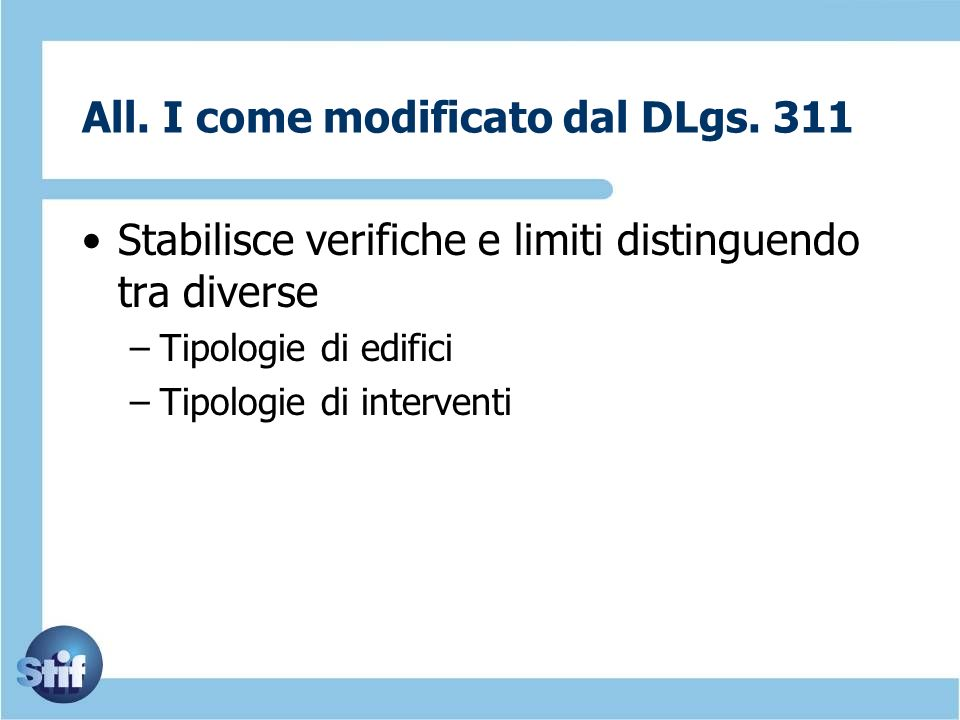 All. I come modificato dal DLgs. 311