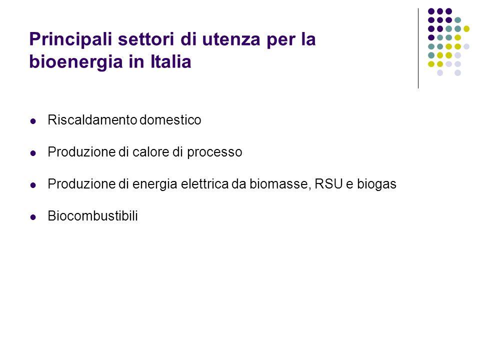 Principali settori di utenza per la bioenergia in Italia