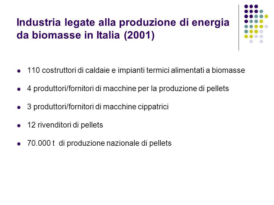 Industria legate alla produzione di energia da biomasse in Italia (2001)