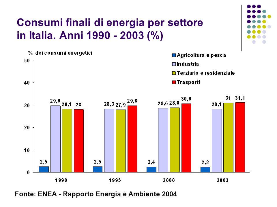 Consumi finali di energia per settore in Italia. Anni 1990 - 2003 (%)