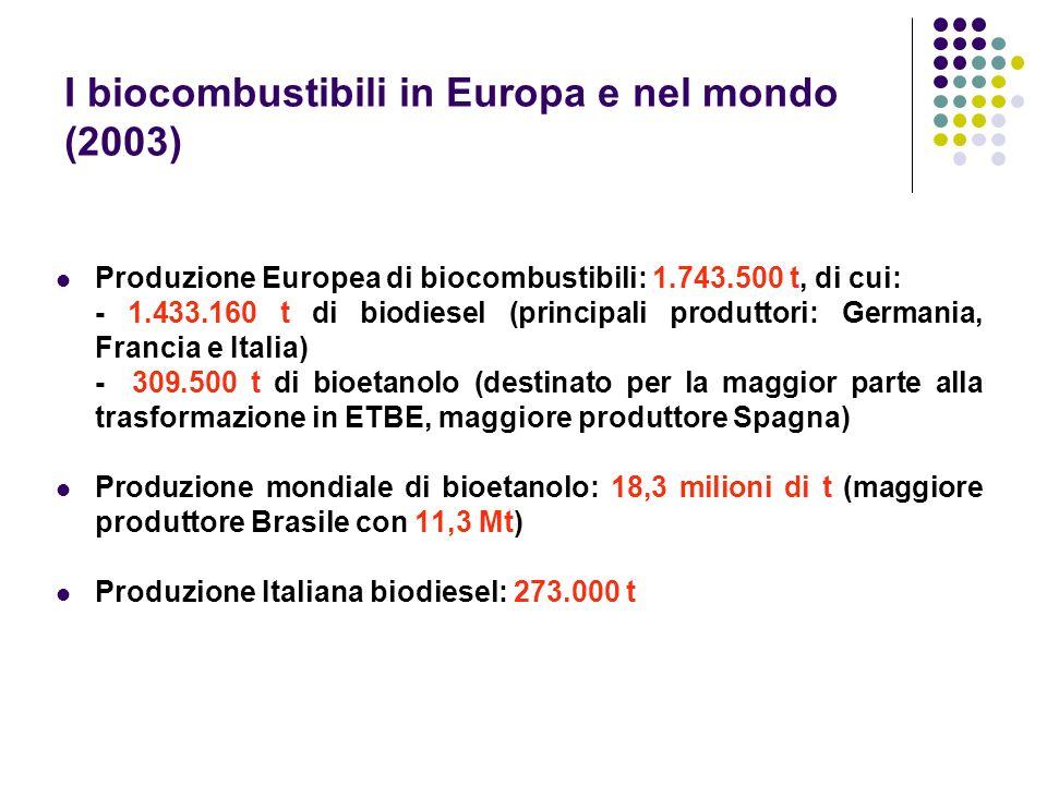 I biocombustibili in Europa e nel mondo (2003)