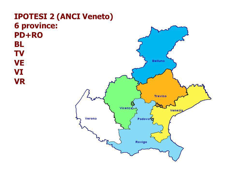 IPOTESI 2 (ANCI Veneto) 6 province: PD+RO BL TV VE VI VR