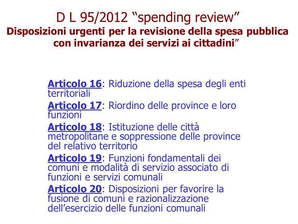 Disposizioni urgenti per la revisione della spesa pubblica