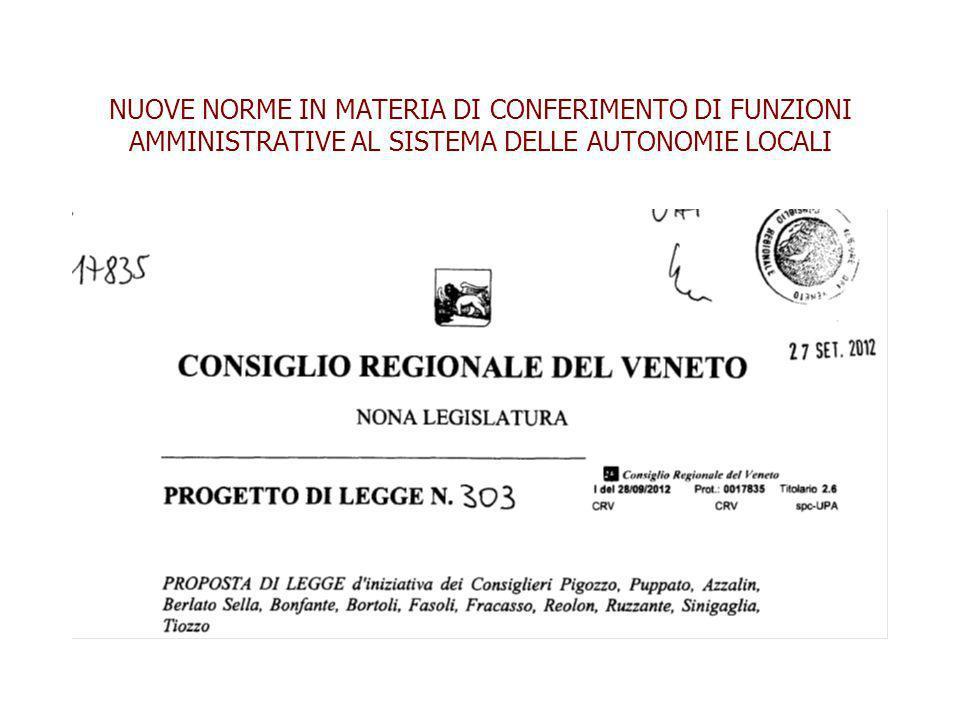 NUOVE NORME IN MATERIA DI CONFERIMENTO DI FUNZIONI AMMINISTRATIVE AL SISTEMA DELLE AUTONOMIE LOCALI