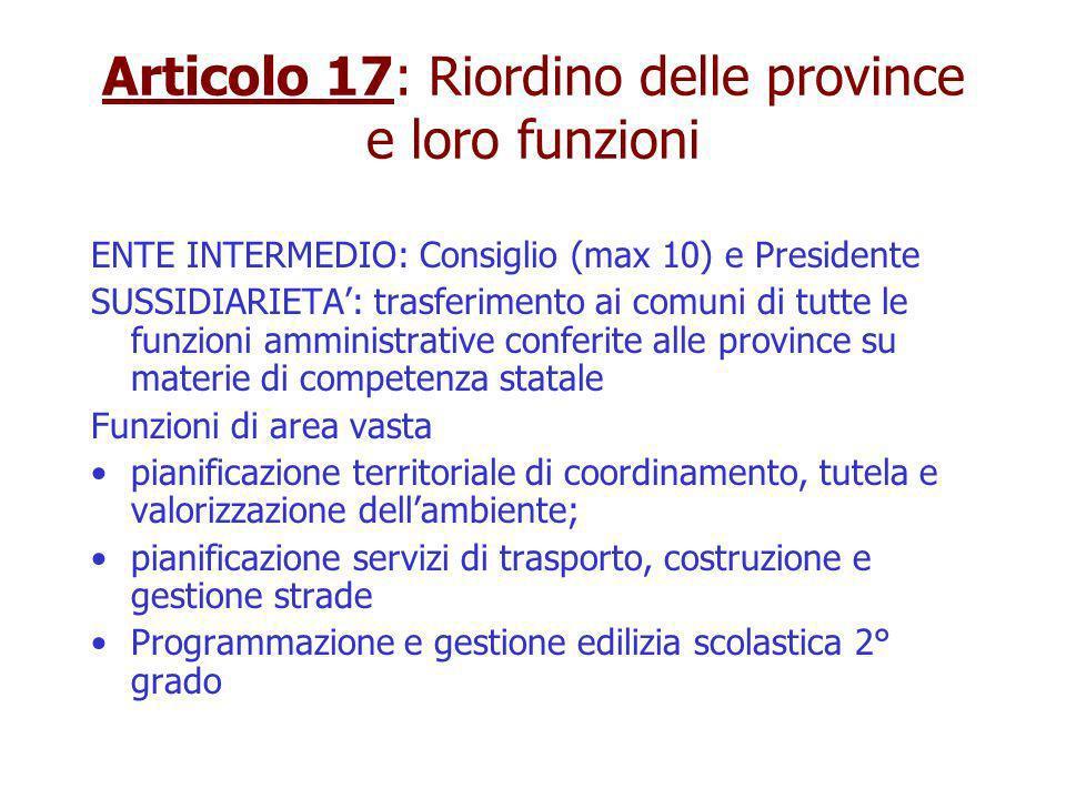 Articolo 17: Riordino delle province e loro funzioni