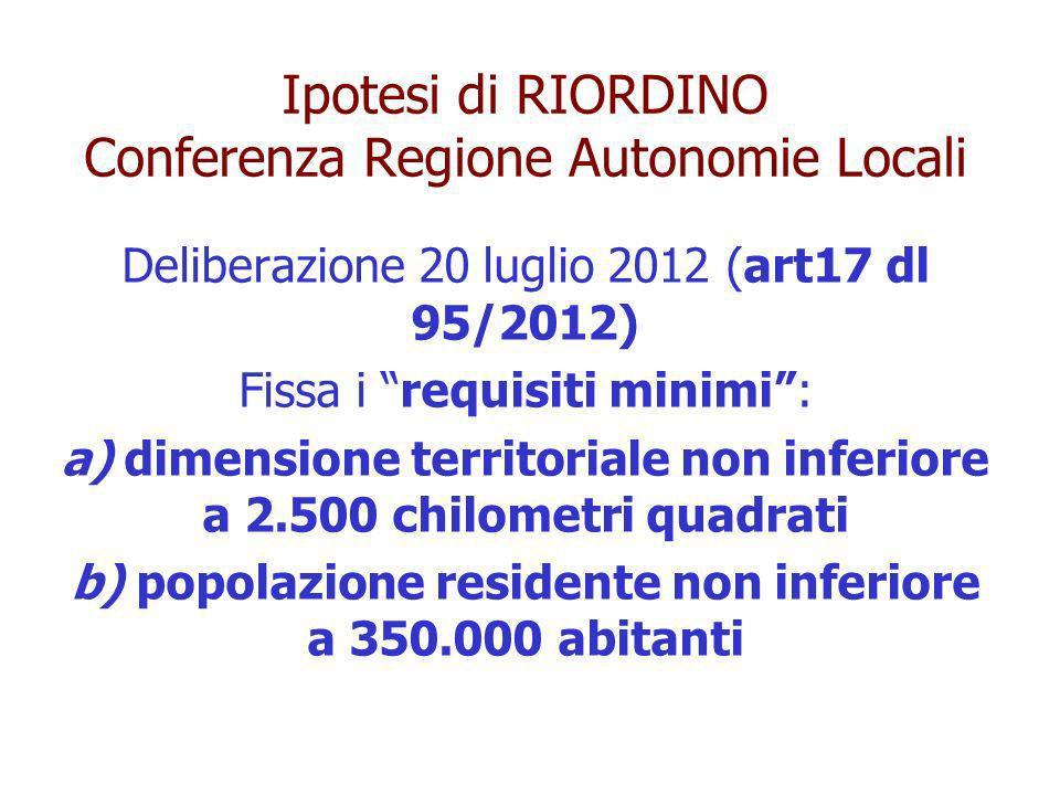 Ipotesi di RIORDINO Conferenza Regione Autonomie Locali