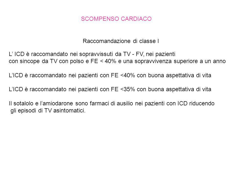 SCOMPENSO CARDIACO Raccomandazione di classe I. L' ICD è raccomandato nei sopravvissuti da TV - FV, nei pazienti.