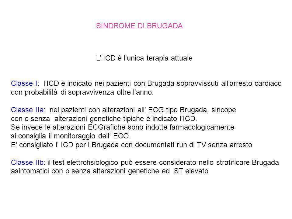 SINDROME DI BRUGADA L' ICD è l'unica terapia attuale. Classe I: l'ICD è indicato nei pazienti con Brugada sopravvissuti all'arresto cardiaco.