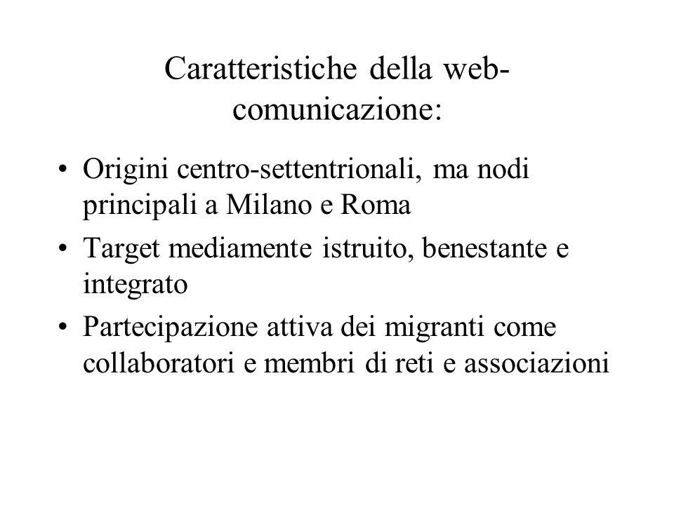 Caratteristiche della web-comunicazione:
