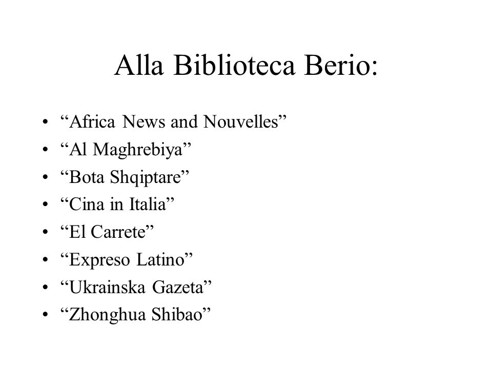 Alla Biblioteca Berio: