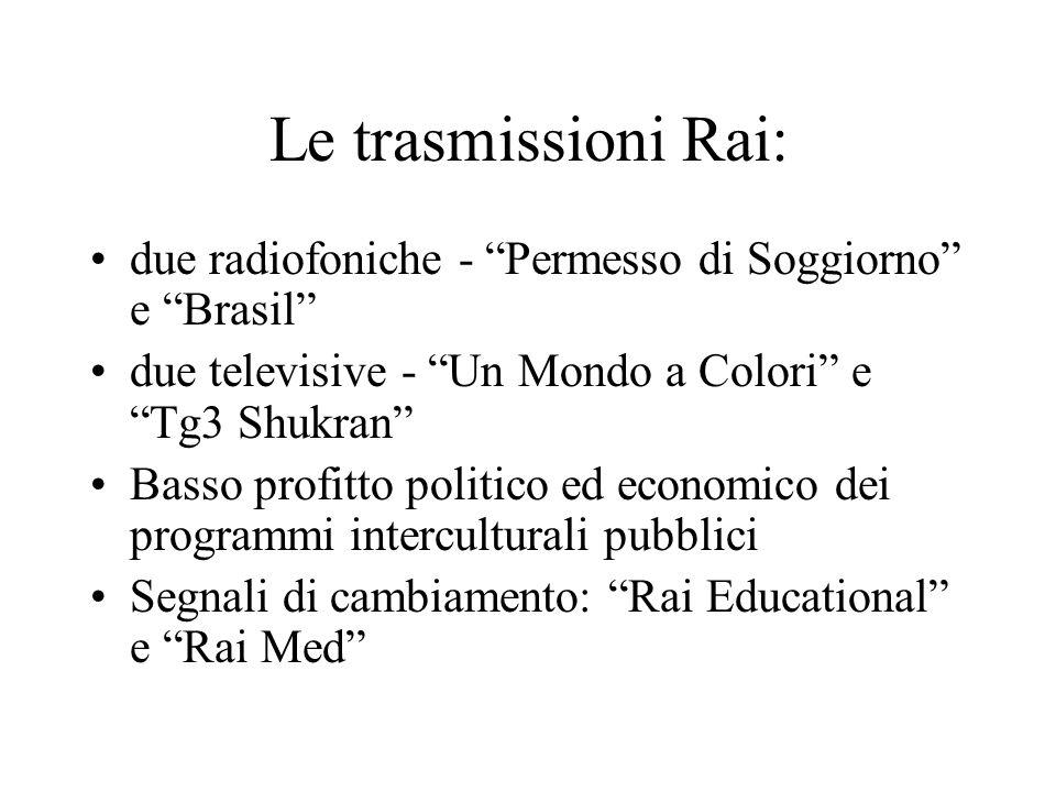 Le trasmissioni Rai: due radiofoniche - Permesso di Soggiorno e Brasil due televisive - Un Mondo a Colori e Tg3 Shukran