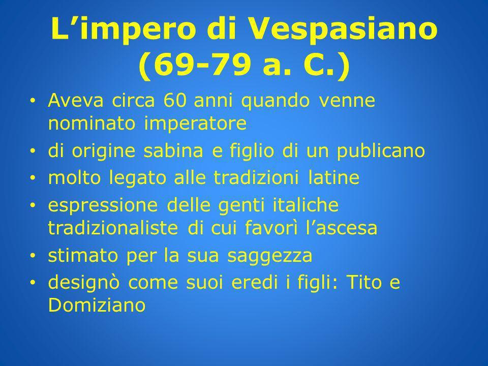 L'impero di Vespasiano (69-79 a. C.)