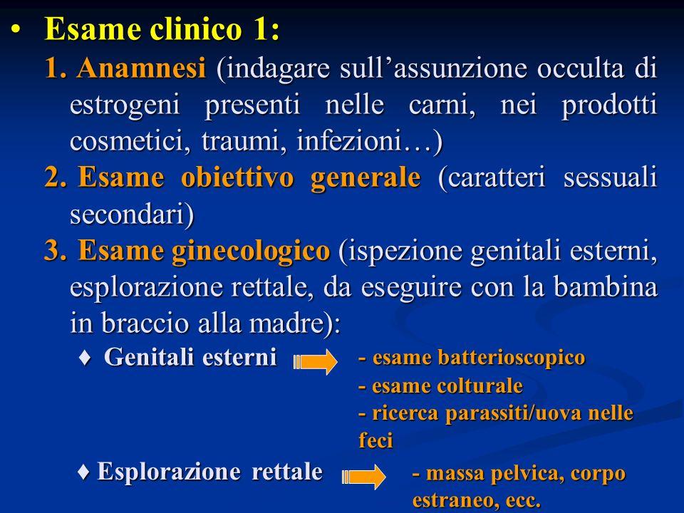 Esame clinico 1: Anamnesi (indagare sull'assunzione occulta di estrogeni presenti nelle carni, nei prodotti cosmetici, traumi, infezioni…)