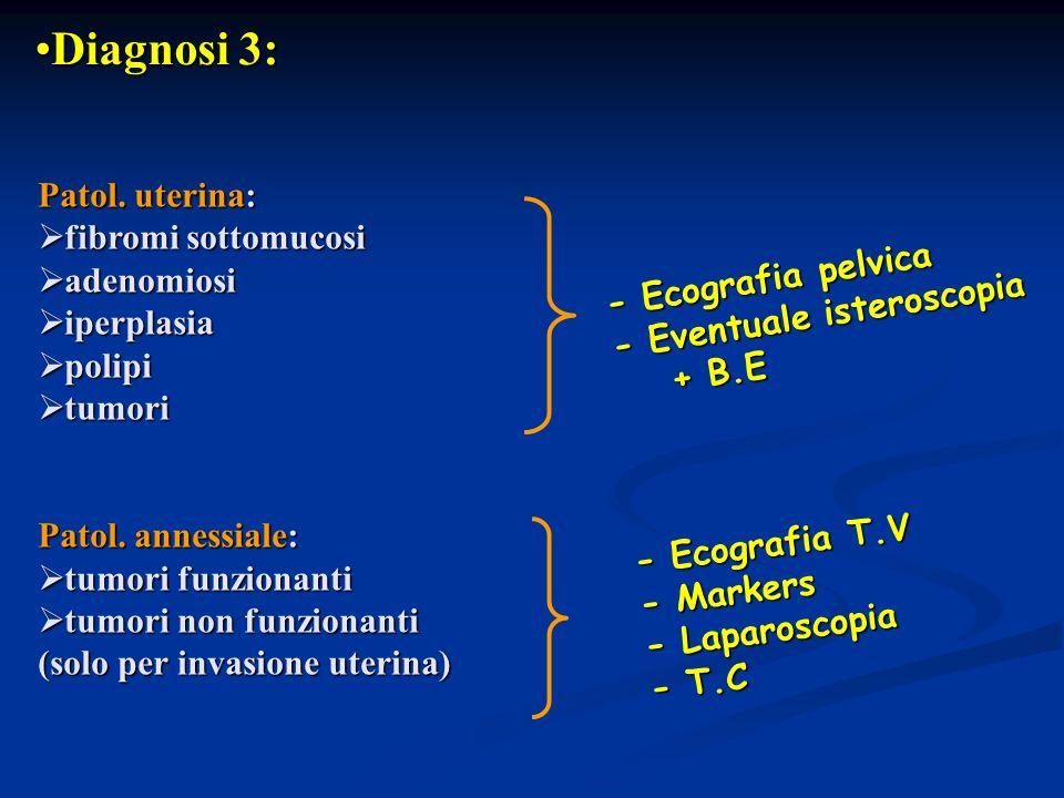 Diagnosi 3: Patol. uterina: fibromi sottomucosi adenomiosi iperplasia