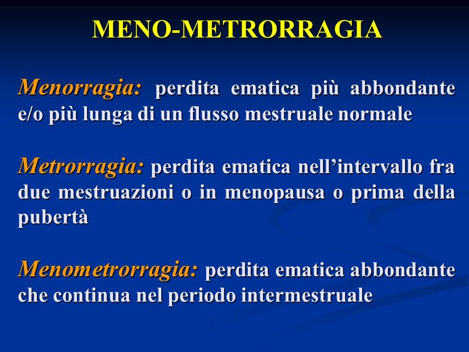 MENO-METRORRAGIA Menorragia: perdita ematica più abbondante e/o più lunga di un flusso mestruale normale.