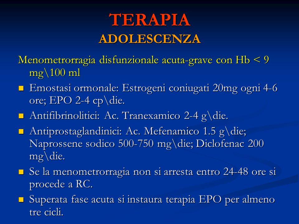 TERAPIA ADOLESCENZA Menometrorragia disfunzionale acuta-grave con Hb < 9 mg\100 ml.
