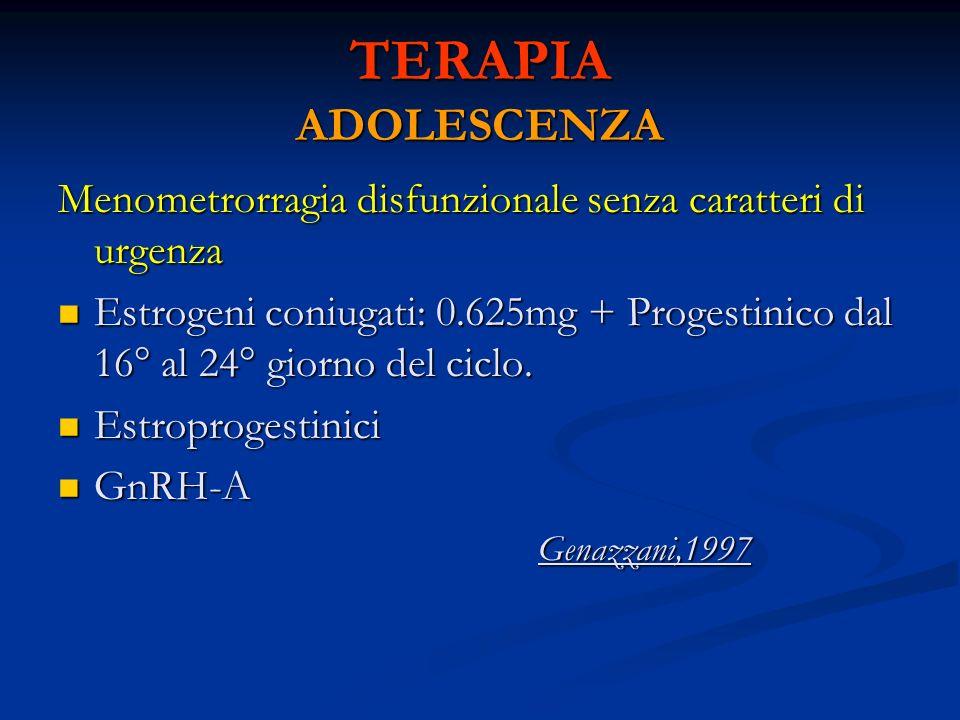 TERAPIA ADOLESCENZA Menometrorragia disfunzionale senza caratteri di urgenza.